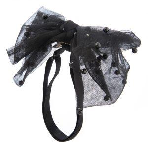 סרט פפיון מבד טול בשילוב פנינים צבע שחור