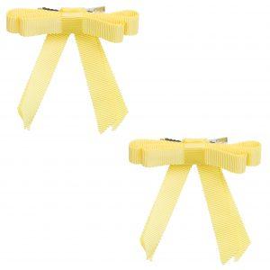 זוג סיכות פפיון מבד ריפס צבע צהוב