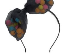 קשת פפיון תול בצבע שחור ופונפונים צבעוניים