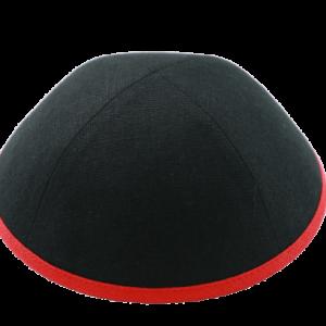 כיפה בד פשתן צבע שחור סרט אדום