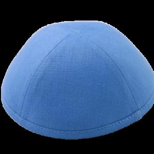 כיפה מבד פשתן צבע כחול בהיר