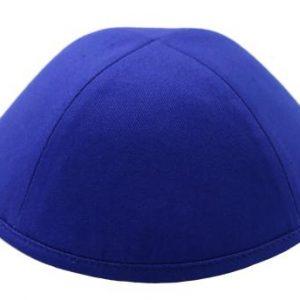 כיפה מבד כותנה צבע כחול רויאל