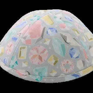 כיפה צבע אפרפר דגם יהלומים