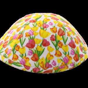 כיפה רקע צבע ורוד בהיר פרחי צבעוני