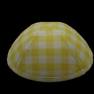 כיפה משבצות גוונים צהוב לבן