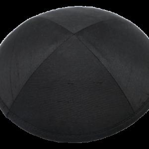 כיפה מבד משי פראי צבע שחור