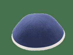 כיפה מבד פשתן צבע כחול סרט שמנת