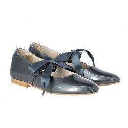 נעל בלרינה צבע אפור כהה  סרט מבד סאטן