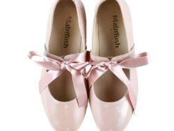 נעלי בלרינה צבע ורוד עתיק קשירת פפיון