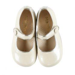 נעלי בובה צבע שמנת גימור צבע זהב