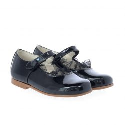 נעל בלרינה צבע שחור לק בשילוב תול
