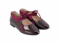 נעל בלרינה צבע בורדו עם קשירה